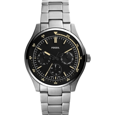 FOSSIL Belmar 當代時尚運動風日曆手錶-黑x銀/44mm FS5575