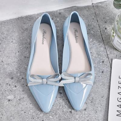 韓國KW美鞋館-雅緻摩登亮眼尖頭鞋-藍色