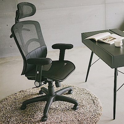 完美主義 氣墊腰靠全網布高背電腦椅/辦公椅/英倫風