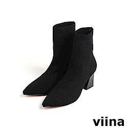 viina Basic 彈力尖頭針織高跟襪套靴 - 黑