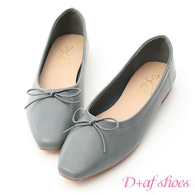 D+AF 典雅美感.小方頭芭蕾平底娃娃鞋*藍