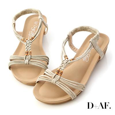 D+AF 假期專屬.民族風交叉編織楔型涼鞋*杏