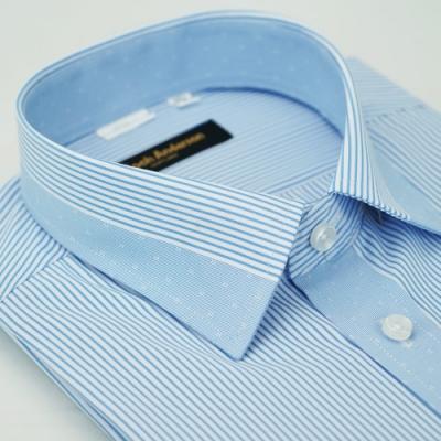 【金‧安德森】藍色變化領窄版短袖襯衫fast