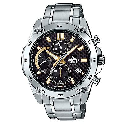 EDIFICE碳纖維編織感扇形錶眼設計腕錶(EFR-557CD-1A9)-黑面X金刻46.