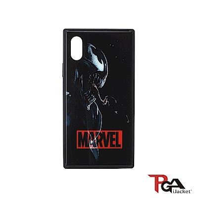 iPhone XS/X 5.8吋 Marvel 漫威英雄 四角氣墊 防撞 玻璃殼-毒液