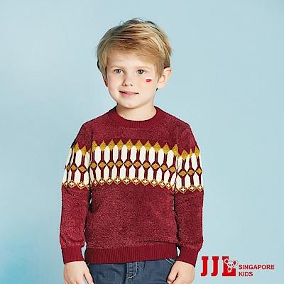 (宅配)JJLKIDS 英國騎士幾何毛衣(狀元紅)