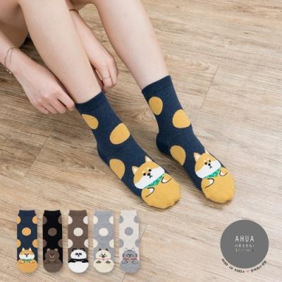 阿華有事嗎 韓國襪子 圓點胖嘟嘟動物中筒襪 韓妞必備長襪 正韓百搭卡通襪