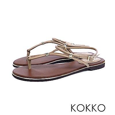 KOKKO  - 波希米亞細帶真皮夾腳平底涼鞋 - 奶茶棕
