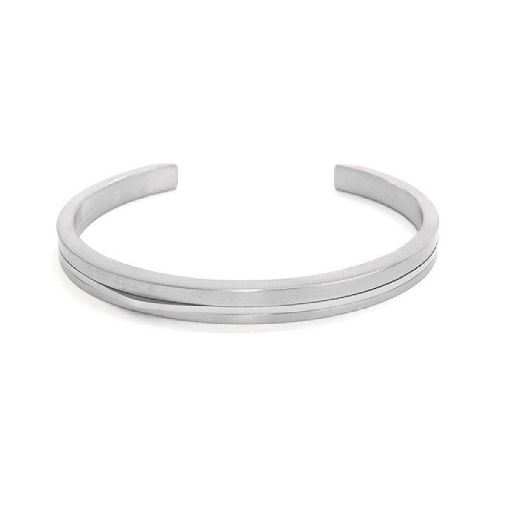 agnes b. 經典雙色C型白鋼女手環(銀) @ Y!購物