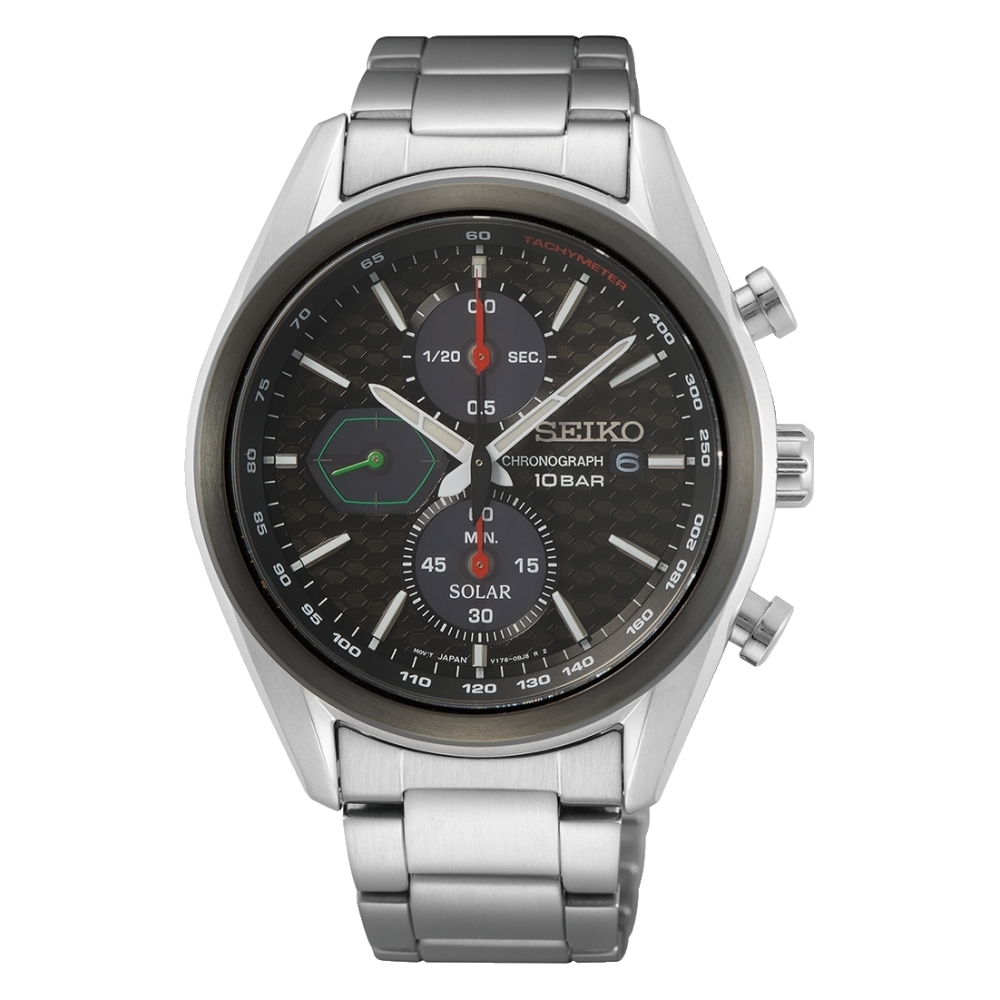 SEIKO 運動計時黑面太陽能腕錶V176-0BH0D(SSC803P1)