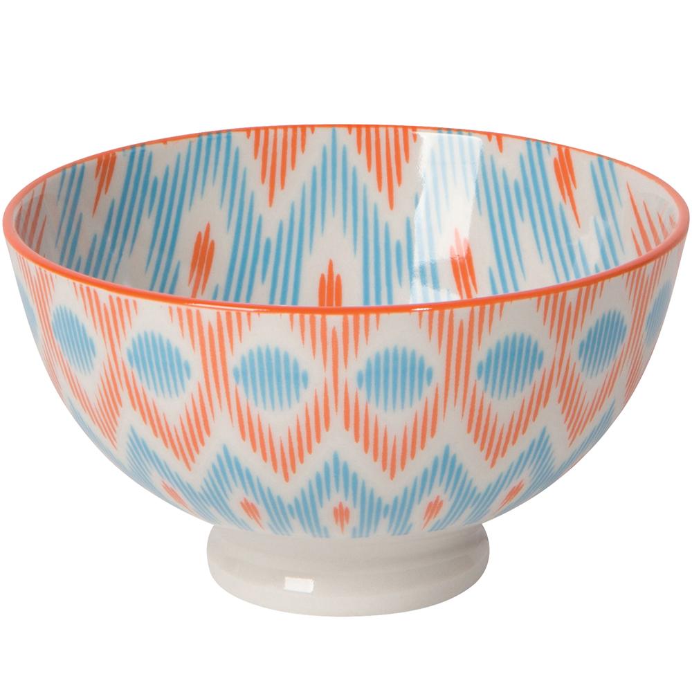 《NOW》圖騰餐碗(菱紋橘藍S)
