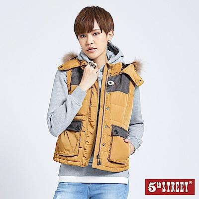 5th STREET 毛呢拼接羽絨背心-女-土黃色