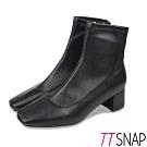 TTSNAP短靴-素面皮革方頭中跟襪靴 黑