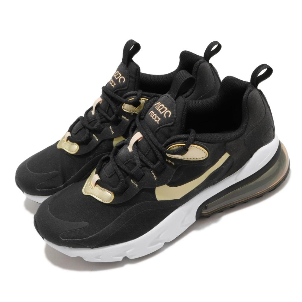 Nike 休閒鞋 Air Max 270 React 女鞋 氣墊 舒適 避震 球鞋 穿搭 大童 黑 金 BQ0103018