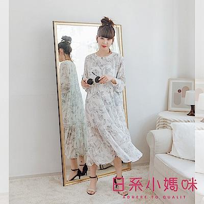 日系小媽咪孕婦裝-孕婦裝 文藝感素描葉子圓領雪紡洋裝