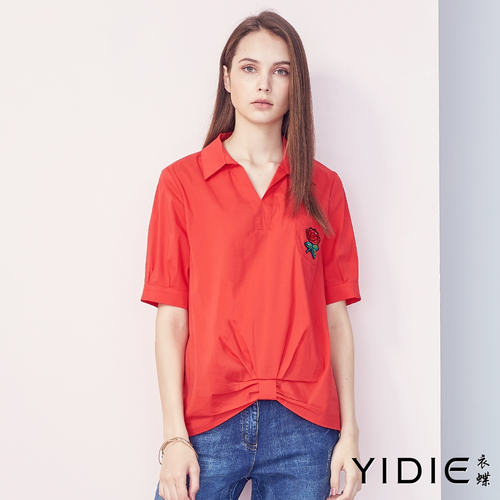 【YIDIE衣蝶】棉質素色玫瑰刺繡襯衫-紅