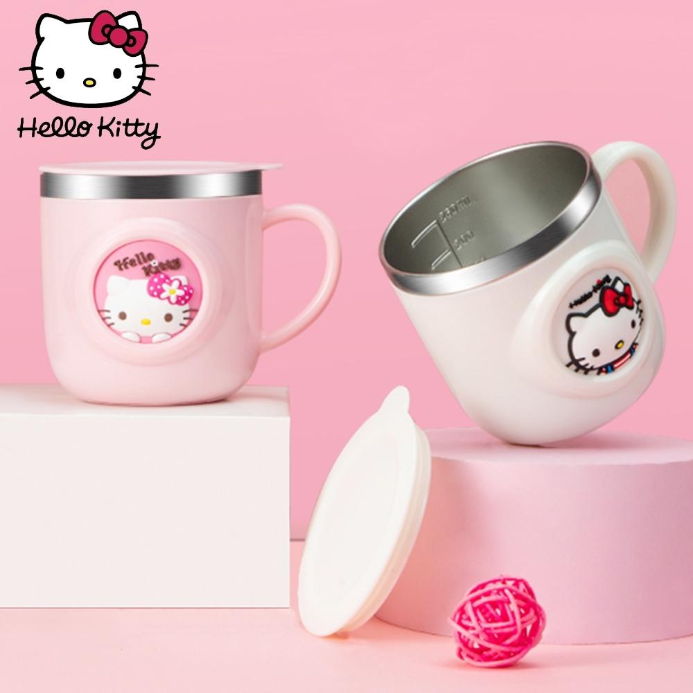 【優貝選】凱蒂貓KITTY 可愛立體刻度兒童用不鏽鋼杯子 260ML