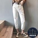 韓國空運 割破直筒七分牛仔褲-2色-TMH