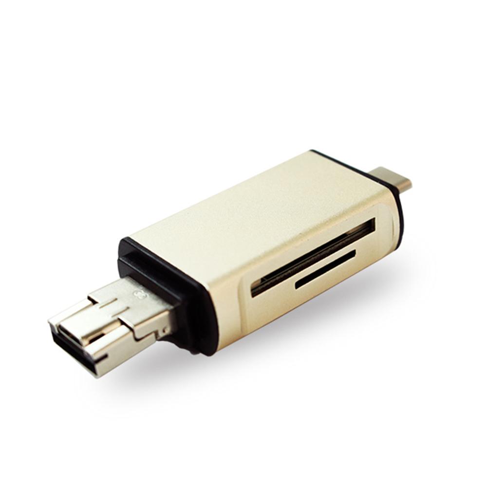 type-c轉usb micro usb鋁合金記憶卡擴充槽三合一otg讀卡機(金)