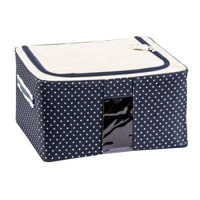樂嫚妮 11L防潑水單視窗文件桌面收納箱/折疊收納箱-藍點-30X24X15cm