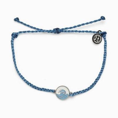 Pura Vida 美國手工 MAKE WAVES SILVER 銀色海浪 單寧藍蠟線衝浪手鍊手環