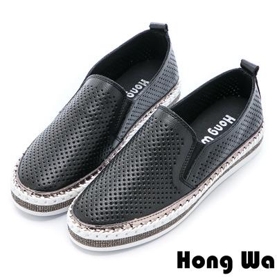 Hong Wa 特色造型貼鑽沖孔牛皮樂福鞋 - 黑