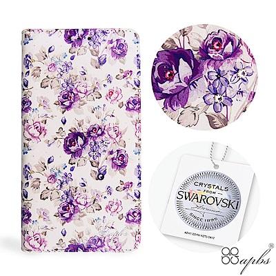 apbs Samsung Galaxy A6+ 施華水晶鑽皮套-紫薔薇