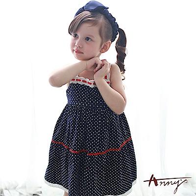 Annys安妮公主-甜美可愛水玉點點紅緞帶蕾絲細肩帶純棉洋裝*7160藍
