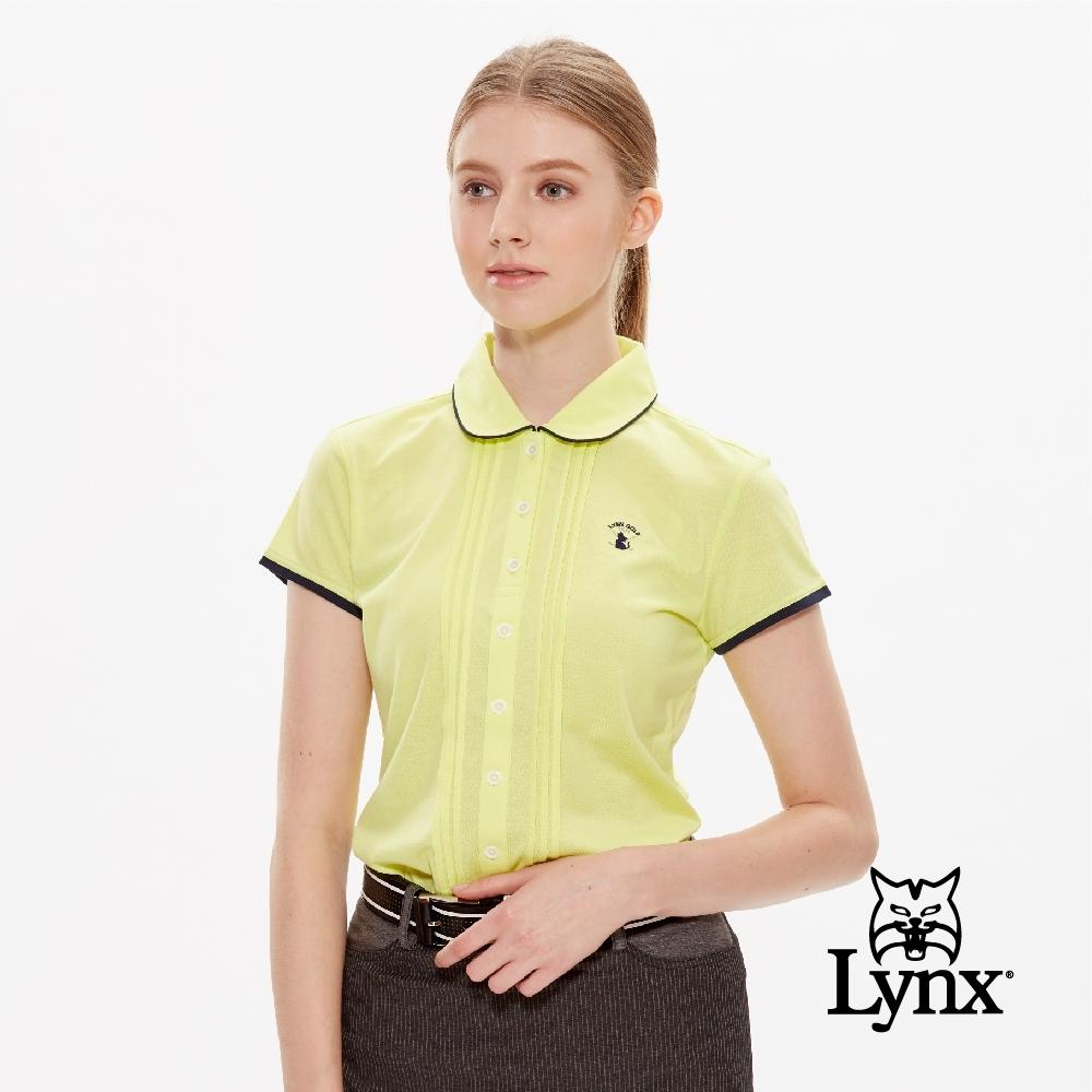 【Lynx Golf】女款吸汗速乾網眼襯衫式貓咪繡花短袖POLO衫-黃色