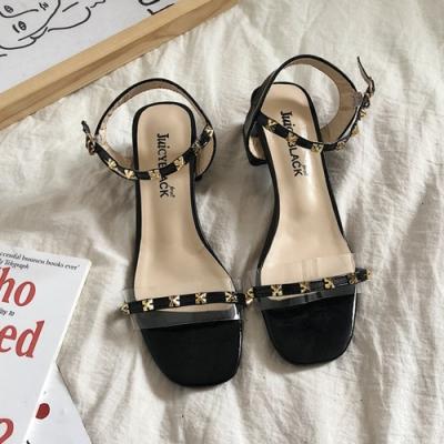 KEITH-WILL時尚鞋館 年度精選閃耀鉚釘粗跟涼鞋 黑