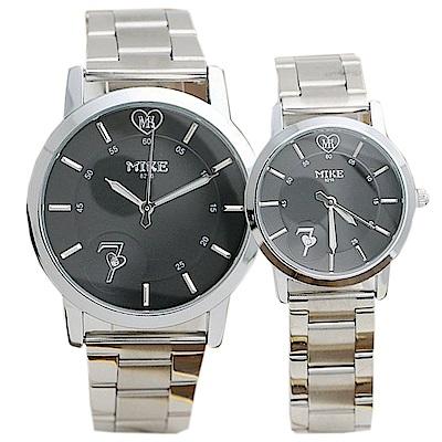 Mirabelle 思慕愛意 線型不鏽鋼男女對錶 黑面39+27mm