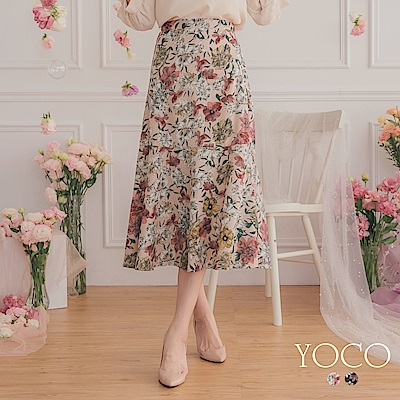 東京著衣-YOCO 氣勢ONNI大花卉印圖魚尾裙-S.M.L(共兩色)