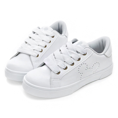 DISNEY 純真小清新 洞洞米奇綁帶休閒鞋-白銀