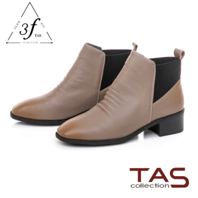 TAS質感牛皮拼接鬆緊帶粗跟短靴-冬季灰