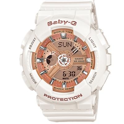 BABY-G 多層次機械酷感女孩休閒腕錶(BA-110-7A1)玫瑰香檳金/白43.4mm