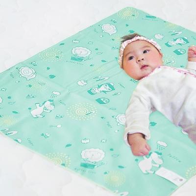 奶油獅 森林野餐ADVANTA超防水止滑保潔墊/尿布墊(雙人)150x186cm水綠
