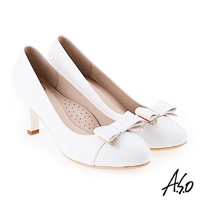 A.S.O 雅緻魅力 職場通勤優雅蝴蝶結高跟鞋 白
