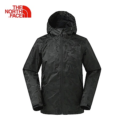 The North Face北面男款黑迷彩防水透氣防風外套|366TXC3