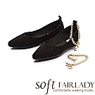 Fair Lady Soft芯太軟 性感麂皮珍珠腳鍊繫踝尖頭鞋 黑