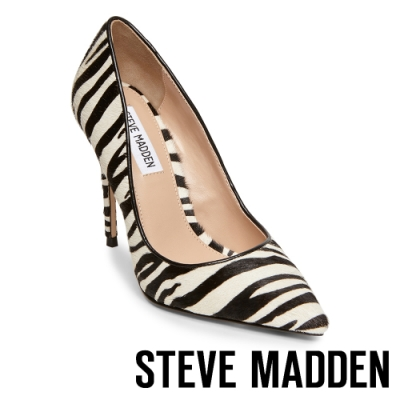 STEVE MADDEN-DAISIE-L 狂野時尚斑馬紋尖頭高跟鞋-斑馬紋