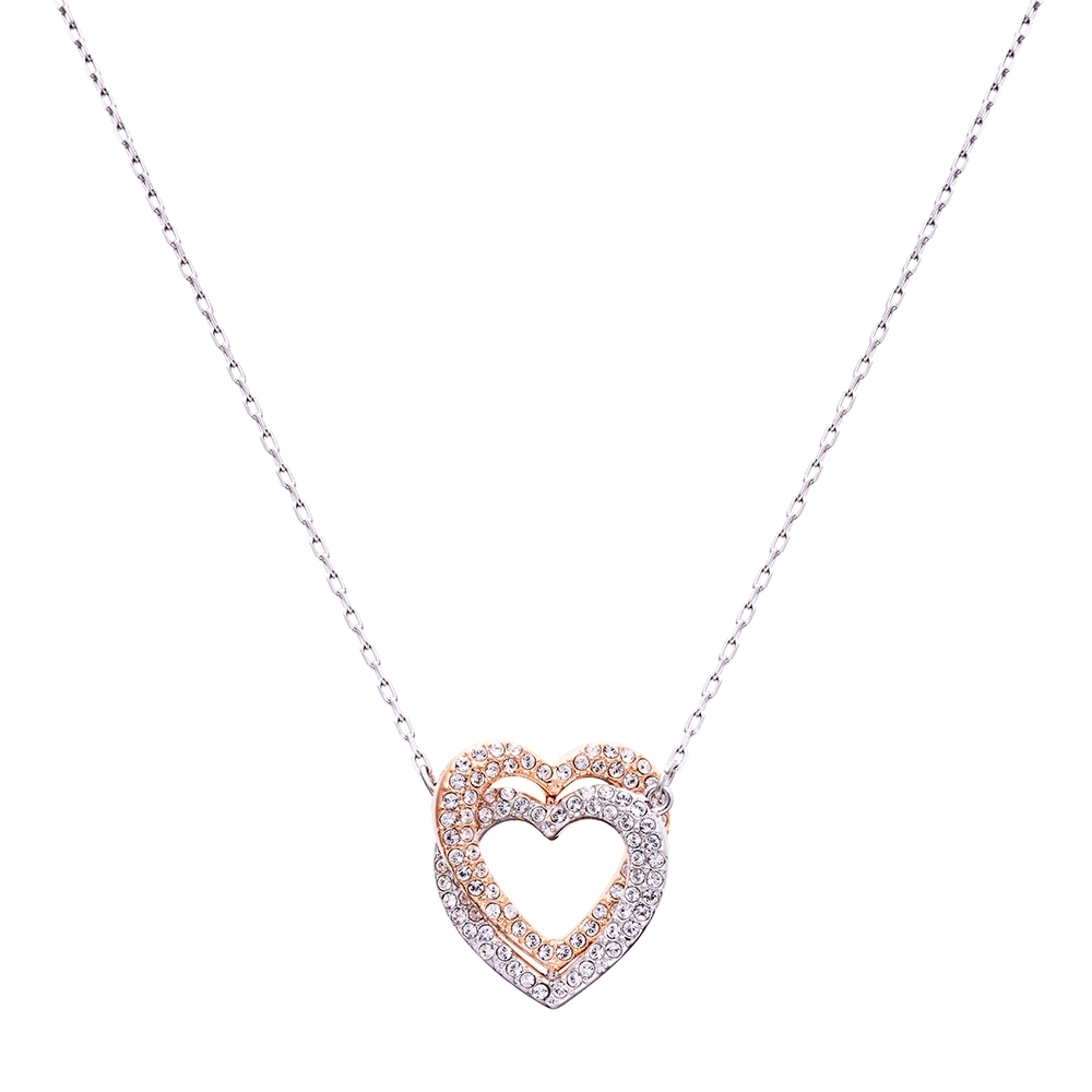SWAROVSKI施華洛世奇  INFINITY DOUBLE HEART 水晶項鍊