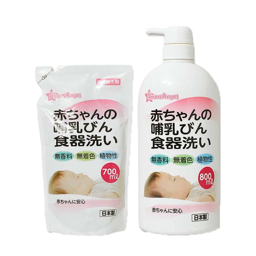 西松屋 Smart Angel 奶瓶清潔液 (1瓶+1包優惠組)