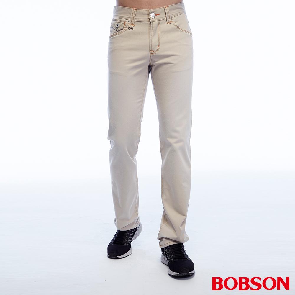 BOBSON 男款刷色半舊淺卡其直筒褲