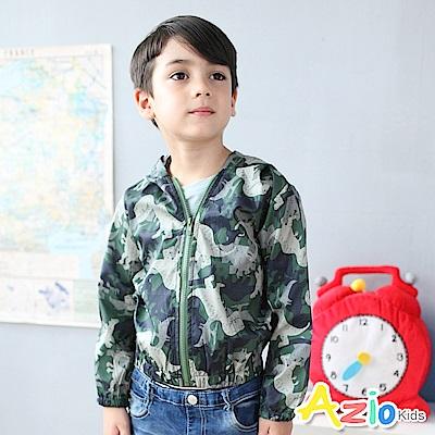 Azio Kids 外套 滿版恐龍連帽縮袖口防風外套(綠)