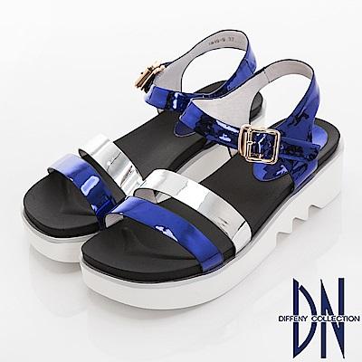 DN 夏日焦點 一字雙色楔型涼鞋-藍