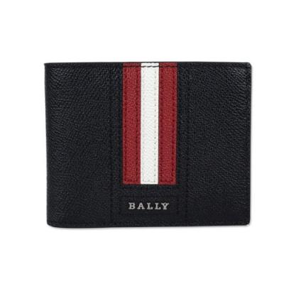BALLY  字母LOGO 紅白條紋 單層 防刮牛皮短夾 (經典黑)