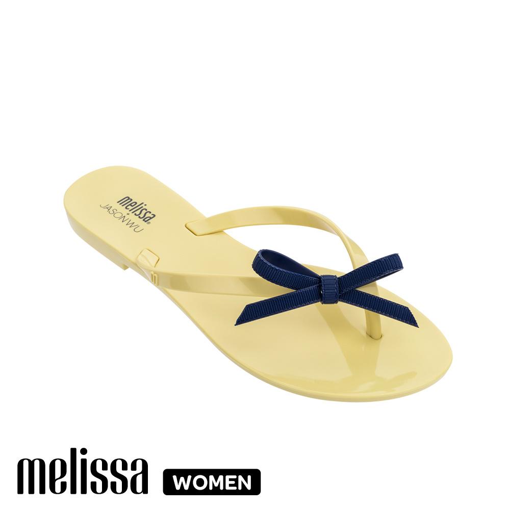 Melissa JASON WU聯名款 蝴蝶結質感撞色涼拖鞋-黃