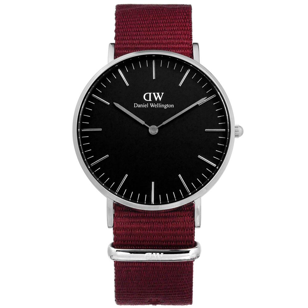 DW Daniel Wellington Classic 經典尼龍手錶-黑x紅/36mm