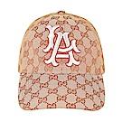 GUCCI經典刺繡LOGO NY Yankees聯名款絨布棒球帽(玫紅)GUCCI經典雙G