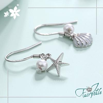 iSFairytale伊飾童話 海星貝殼 珍珠不對襯銅電鍍耳環